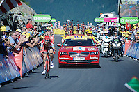 Ilnur Zakarin (RUS/Katusha) underway to his first Tour victory in his very first Tour de France<br /> <br /> stage 17: Bern (SUI) - Finhaut-Emosson (SUI) 184.5km<br /> 103rd Tour de France 2016