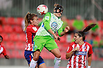Atletico de Madrid's Carmen Menayo (l) and Silvia Meseguer (r) and VfL Wolfsburg's Babett Peter during UEFA Womens Champions League 2017/2018, 1/16 Final, 1st match. October 4,2017. (ALTERPHOTOS/Acero)
