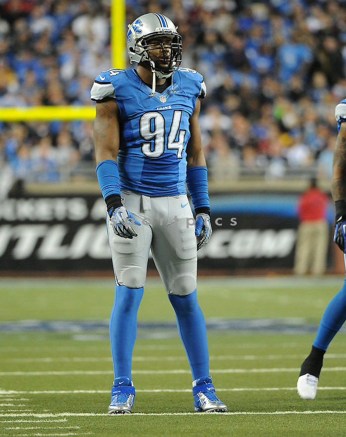 Detroit Lions Lawrence Jackson (94) in action during a game against the Falcons on December 22, 2012 at Ford Field in Detroit, MI. The Falcons beat the Lions 31-18.