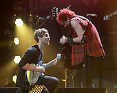 SUNRISE FL - DECEMBER 18: Luke Hemmings and Michael Clifford of 5 Seconds Of Summer perform at the Y100 Jingle Ball 2015 held at The BB&T Center on December 18, 2015 in Sunrise, Florida. (Photo by Larry Marano © 2015