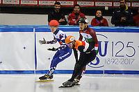 SHORT TRACK: TORINO: 15-01-2017, Palavela, ISU European Short Track Speed Skating Championships, 3000m SF, Winner Semen Elistratov (RUS), Sjinkie Knegt (NED), Shaolin Sandor Liu (HUN), ©photo Martin de Jong