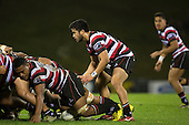 Jonathan Taumatiene prepares to take the ball from a solid Steelers scrum. The game of Three Halves, a pre-season warm-up game between the Counties Manukau Steelers, Northland and the All Blacks, played at ECOLight Stadium, Pukekohe, on Friday August 12th 2016. Photo by Richard Spranger.
