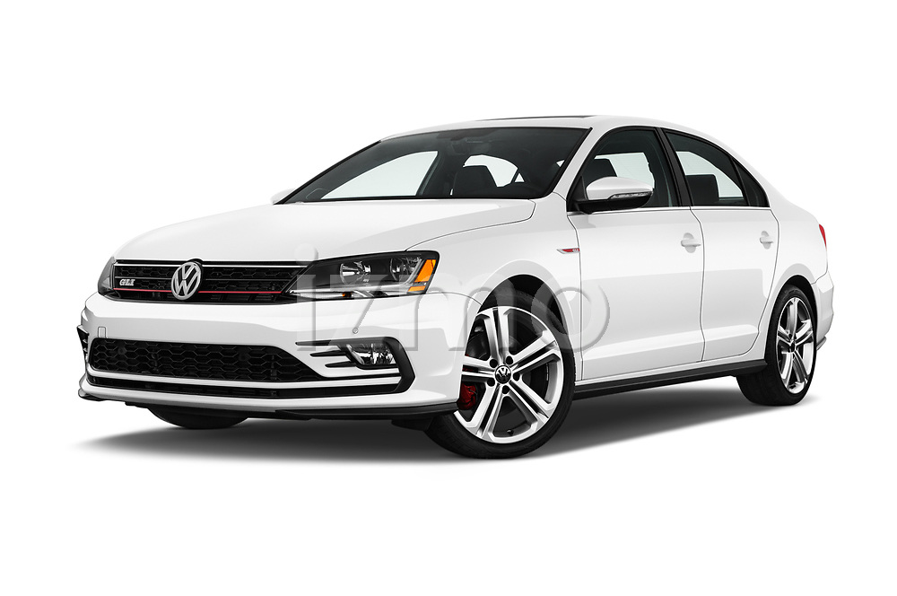 Stock pictures of low aggressive front three quarter view of 2017 Volkswagen Jetta GLI 4 Door Sedan Low Aggressive