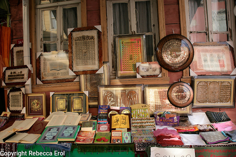 Islamic paraphernalia for sale in at the religious site of Eyup, Istanbul, Turkey