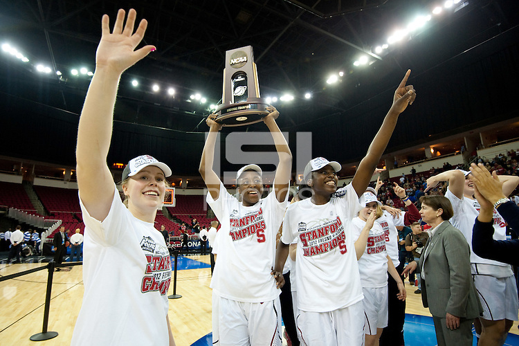 FRESNO, CA--Lindy LaRocque, Chiney Ogwumike and Nneka Ogwumike celebrate a 81-69 win over Duke at the Save Mart Center for the West Regionals Championship of the 2012 NCAA Championships. The Cardinal advances to the Final Four in Denver, facing Baylor in the semifinals.