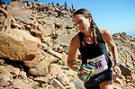 August 19, 2017 - Colorado Springs, Colorado, U.S. -  Manitou Springs runner, Stephanie Wurtz, enters the final boulder field near the summit of the 62nd running of the Pikes Peak Ascent.  The Ascent is a full half-marathon gaining over 7800 feet in elevation to reach the summit at 14,115 feet.  Mountain runners from around the world converge on Pikes Peak for two days of racing on America's Mountain in Colorado Springs, Colorado.