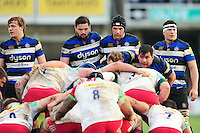 Bath Rugby forwards pack down for a scrum. Aviva Premiership match, between Bath Rugby and Harlequins on February 18, 2017 at the Recreation Ground in Bath, England. Photo by: Patrick Khachfe / Onside Images