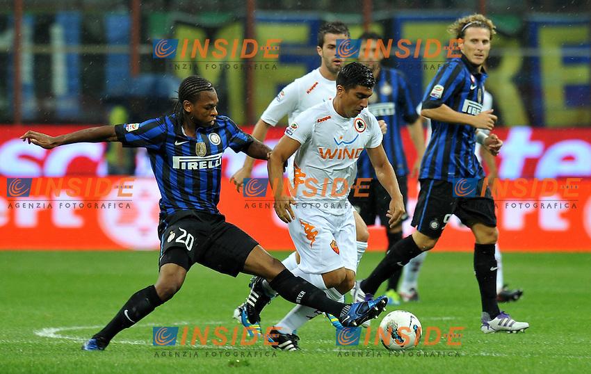 "Joel OBI (Inter), David PIZARRO (Roma).Milano 17/9/2011 Stadio ""Giuseppe Meazza"".Serie A 2011/2012 .Football Calcio Inter Vs Roma.Foto Insidefoto Alessandro Sabattini."