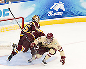 Kent Patterson (Minnesota - 35), Ben Marshall (Minnesota - 10), Pat Mullane (BC - 11) - The Boston College Eagles defeated the University of Minnesota Golden Gophers 6-1 in their 2012 Frozen Four semi-final on Thursday, April 5, 2012, at the Tampa Bay Times Forum in Tampa, Florida.