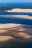 France, Gironde (33),Bassin d'Arcachon, le banc d'Arguin et la Dune du Pyla , vue aérienne //  France, Gironde, Bassin d'Arcachon, The Banc d'Arguin, Arguin bank, and the Great Dune of Pilat - aerial view