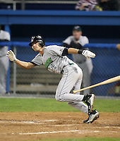 September 5, 2009:  Second Baseman Nate Simon of the Jamestown Jammers at bat during a game at Dwyer Stadium in Batavia, NY.  The Jammers are the NY-Penn League Short-Season Class-A affiliate of the Florida Marlins.  Photo By Mike Janes/Four Seam Images