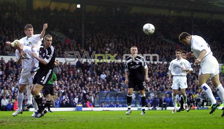 Pix: Matthew Lewis/SWpix.com. Soccer. FA Barclaycard Premiership. Leeds United v Fulham. 22/04/03..COPYRIGHT PICTURE>>SIMON WILKINSON>>01943 436649>>..Leeds' Mark Viduka heads home his teams first goal against Fulham.