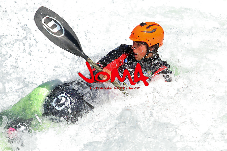 11.07.2014 Sort, Spain. ICF Freestyle World Cup, junior K1, Picture show Ian Salvat (ESP) in acton during semi-finals