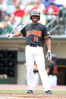 Rochester Red Wings outfielder Jacque Jones (11) at bat during a game vs. the Buffalo Bisons at Frontier Field in Rochester, New York;  September 6, 2010.  Buffalo defeated Rochester 16-1 in the season finale for both teams.  Photo By Mike Janes/Four Seam Images