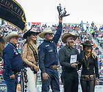 Hunter Cure won the Steer Wrestling event during the Reno Rodeo in Reno, Nevada on Saturday, June 23, 2018.