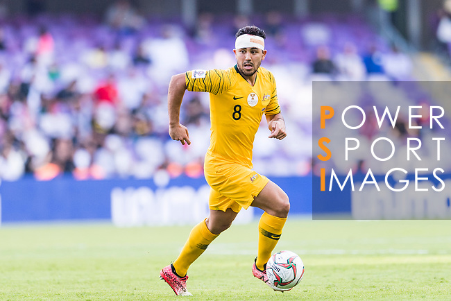 Massimo Luongo of Australia runs with the ball during the AFC Asian Cup UAE 2019 Group B match between Australia (AUS) and Jordan (JOR) at Hazza Bin Zayed Stadium on 06 January 2019 in Al Ain, United Arab Emirates. Photo by Marcio Rodrigo Machado / Power Sport Images