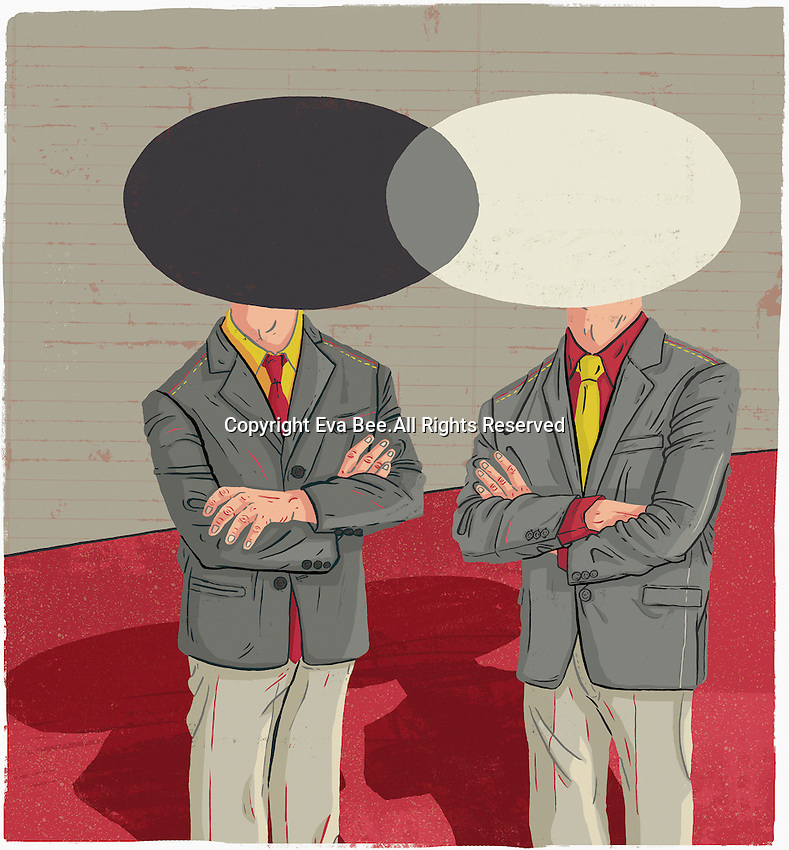 Two businessmen with overlapping venn diagram heads