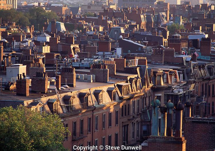 Back Bay rooftops Beacon Street, summer, Boston, MA