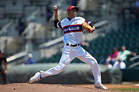 Winston-Salem Rayados starting pitcher Jorgan Cavanerio (36) in action against the Lynchburg Hillcats at BB&T Ballpark on June 23, 2019 in Winston-Salem, North Carolina. The Hillcats defeated the Rayados 12-9 in 11 innings. (Brian Westerholt/Four Seam Images)