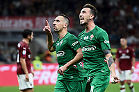 Franck Ribery of Fiorentina celebrates with Gaetano Castrovilli after scoring the goal of 0-3 <br /> Milano 29/09/2019 Stadio Giuseppe Meazza <br /> Football Serie A 2019/2020 <br /> AC Milan - ACF Fiorentina   <br /> Photo Image Sport / Insidefoto