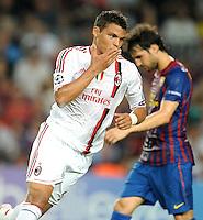 FUSSBALL   CHAMPIONS LEAGUE   SAISON 2011/2012   GRUPPE  H 13.09.2011 FC Barcelona - AC Mailand  JUBEL nach dem Tor Thiago Silva (AC Mailand)