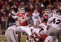 NWA Democrat-Gazette/BEN GOFF @NWABENGOFF<br /> Brando Allen, Arkansas quarterback, throws a pass in the third quarter against Mississippi State on Saturday Nov. 21, 2015 during the game in Razorback Stadium in Fayetteville.