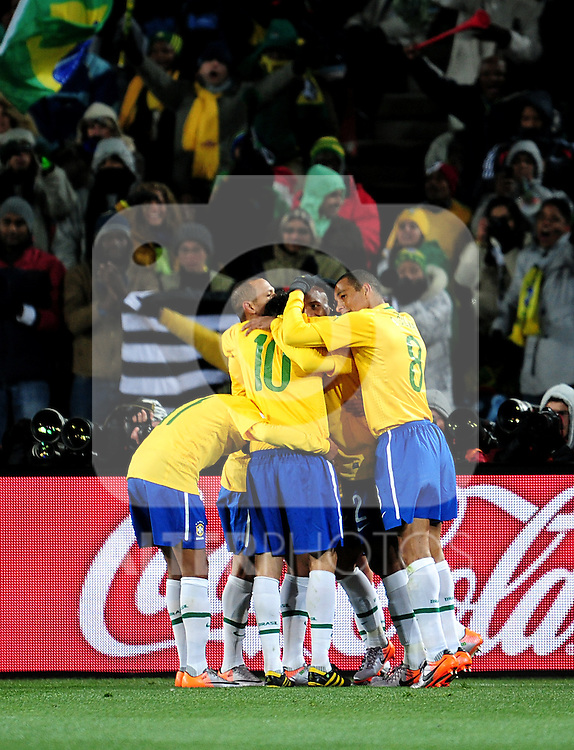 Brazil celebrate their second goal  during the 2010 FIFA World Cup South Africa Group G match between Brazil and North Korea at Ellis Park Stadium on June 15, 2010 in Johannesburg, South Africa.