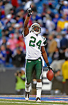 2 November 2008:  New York Jets' cornerback Darrelle Revis celebrates an interception in the fourth quarter against the Buffalo Bills at Ralph Wilson Stadium in Orchard Park, NY. The Jets defeated the Bills 26-17 improving their record to 5 and 3 for the season...Mandatory Photo Credit: Ed Wolfstein Photo