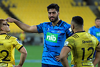 From left, Ihaia West, Akira Ioane and Ngani Laumape after the Super Rugby match between the Hurricanes and Blues at Westpac Stadium in Wellington, New Zealand on Saturday, 7 July 2018. Photo: Dave Lintott / lintottphoto.co.nz
