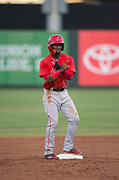 AZL Angels left fielder D'Shawn Knowles (20) during an Arizona League game against the AZL Padres 2 at Tempe Diablo Stadium on July 18, 2018 in Tempe, Arizona. The AZL Padres 2 defeated the AZL Angels 8-1. (Zachary Lucy/Four Seam Images)