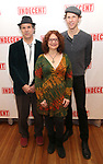 """The Band: Matt Darriau, Lisa Gutkin and Aaron Halva attend the """"Indecent"""" Media Day at Playwrights Horizons on March 13, 2017 in New York City."""