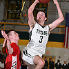 Thornton Scott #3 of Holy Trinity, right, draws a foul during the Nassau-Suffolk CHSAA varsity boys basketball semifinals against St. John the Baptist at LIU Post on Sunday, Feb. 26, 2017. Holy Trinity expanded on a 46-40 halftime lead by outscoring Baptist 32-11 in the third quarter. Holy Trinity went on to win by a score of 90-59.