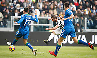 Calcio, Serie A: Juventus - Sassuolo, Torino, Allianz Stadium, 4 Febbraio 2018. <br /> Juventus' Gonzalo Higuain (c) scores during the Italian Serie A football match between Juventus and Sassuolo at Torino's Allianz stadium, February 4, 2018.<br /> UPDATE IMAGES PRESS/Isabella Bonotto