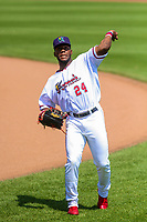 Cedar Rapids Kernels outfielder Akil Baddoo (24) warms up in the outfield prior to a Midwest League game against the Clinton LumberKings on May 28, 2018 at Perfect Game Field at Veterans Memorial Stadium in Cedar Rapids, Iowa. Clinton defeated Cedar Rapids 4-3. (Brad Krause/Four Seam Images)