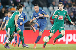Getafe's Alvaro Vazquez (c) and Sociedad Deportiva Eibar's Mauro Dos Santos (l) and Gonzalo Escalante during La Liga match. March 18,2016. (ALTERPHOTOS/Acero)