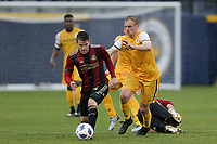 Nashville, TENN. - Saturday February 10, 2018: Greg Garza, MATT LAGRASSA during a preseason exhibition match between Nashville SC vs Atlanta United FC at First Tennessee Park.