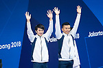 Ken Terauchi &  Sho Sakai (JPN), <br /> AUGUST 28, 2018 - Diving : <br /> Men's Synchronised 3m Springboard Medal Ceremony <br /> at Gelora Bung Karno Aquatic Center <br /> during the 2018 Jakarta Palembang Asian Games <br /> in Jakarta, Indonesia. <br /> (Photo by Naoki Morita/AFLO SPORT)