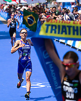 05 JUN 2010 - MADRID, ESP - Emmie Charayron takes second place at the Madrid round of the womens ITU World Championship Series triathlon behind Nicola Spirig (right) and in front of Helen Jenkins (left)  (PHOTO (C) NIGEL FARROW)