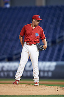 Clearwater Threshers relief pitcher Matt Hockenberry (30) looks in for the sign during a game against the Charlotte Stone Crabs on April 12, 2016 at Bright House Field in Clearwater, Florida.  Charlotte defeated Clearwater 2-1.  (Mike Janes/Four Seam Images)