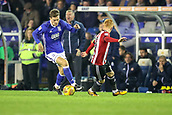 1st November 2017, St. Andrews Stadium, Birmingham, England; EFL Championship football, Birmingham City versus Brentford; Sam Gallagher of Birmingham City keeps close control of the ball as he runs forward
