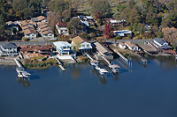aerial photograph of Lakeshore Drive waterfront properties, Lakeport, Lake County, California