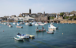 Boats at moorings in harbour at Penzance, Cornwall, England, UK