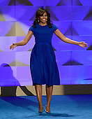 First lady Michelle Obama arrives to make remarks at the 2016 Democratic National Convention at the Wells Fargo Center in Philadelphia, Pennsylvania on Monday, July 25, 2016.<br /> Credit: Ron Sachs / CNP<br /> (RESTRICTION: NO New York or New Jersey Newspapers or newspapers within a 75 mile radius of New York City)