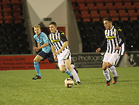 Anton Brady, with Danny McDonald in the centre in the St Mirren v Dunfermline Athletic Scottish Professional Football League Under 20 match played at the Excelsior Stadium, Airdrie on 11.12.13.