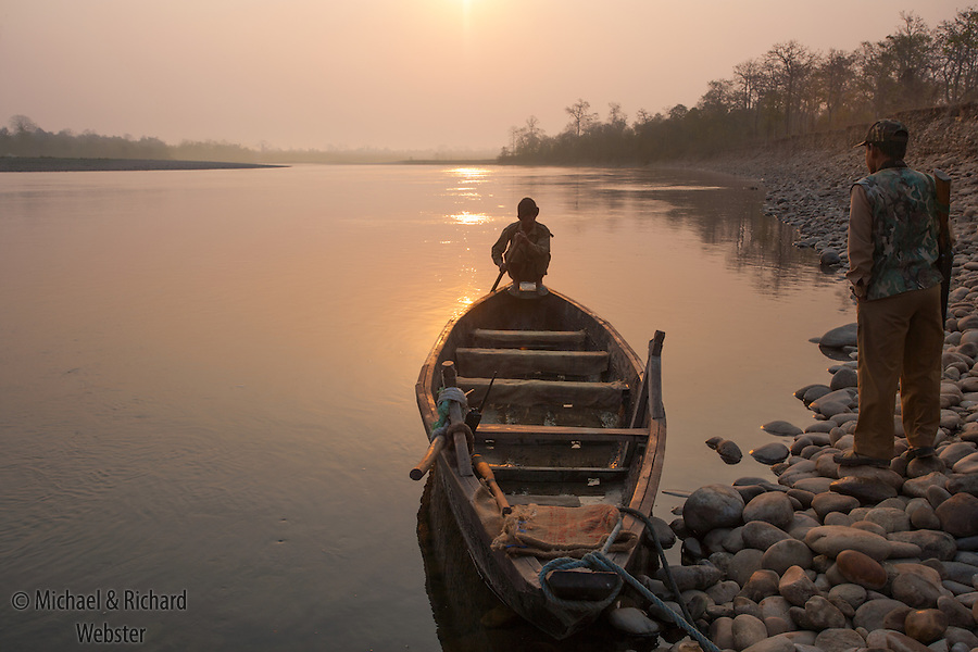 A boat waiting at dawn to take us across the river Jai Borelli, to the Nameri Tiger reserve, Assam.