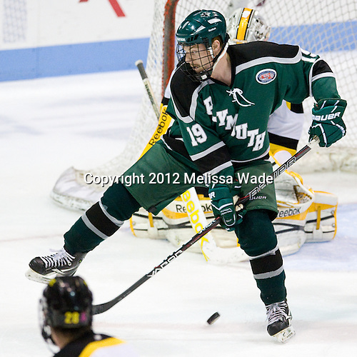 Josh Woody (PSU - 19) - The visiting Plymouth State University Panthers defeated the Wentworth Institute of Technology Leopards 2-1 on Monday, November 19, 2012, at Matthews Arena in Boston, Massachusetts.