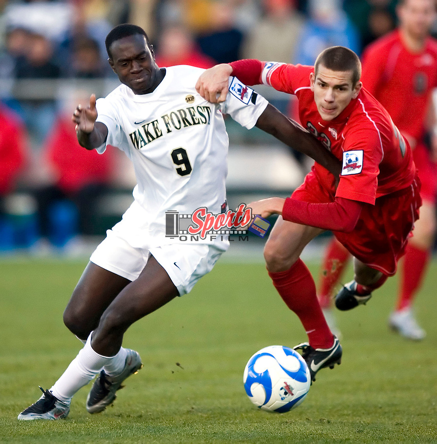Marcus Tracy (9) of the Wake Forest Demon Deacons battles for the ball with Eric Brunner (23) of the Ohio State Buckeyes during second half action of the 2007 Men's College Cup at SAS Soccer Park in Cary, NC, Sunday, December 16, 2007.