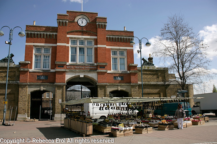 The Royal Arsenal Gatehouse and Woolwich Market, Woolwich, southeast London, UK