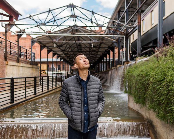 April 7, 2017. Durham, North Carolina.<br /> <br /> Filmmaker Wang Jiuliang, photographed in downtown Durham during the Full Frame Film Festival where his film &quot;Plastic China&quot; will be screened. <br /> <br /> The film follows the path of two Chinese families involved in the world wide plastic recycling industry and environmental and cultures implications of the industry. <br /> <br /> Jeremy M. Lange for The New York TImes
