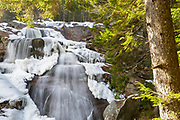 Georgiana Falls along Harvard Brook in the White Mountains, New Hampshire USA during the autumn months.